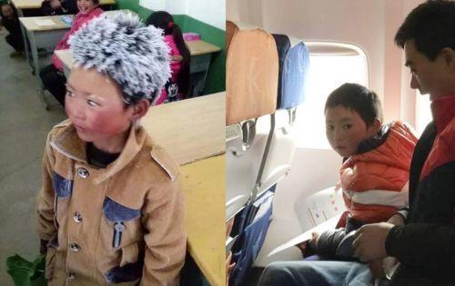 寒波で頭も眉も真っ白に凍った8歳の中国の少年.jpg